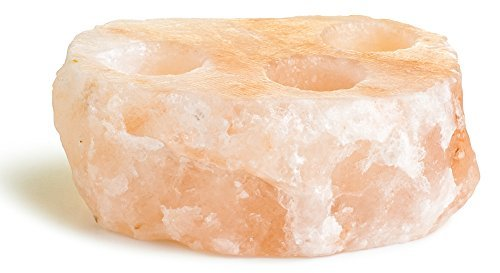 HemingWeigh Himalayan Crystal Salt Rock 3 Holes Disc Candle Holder
