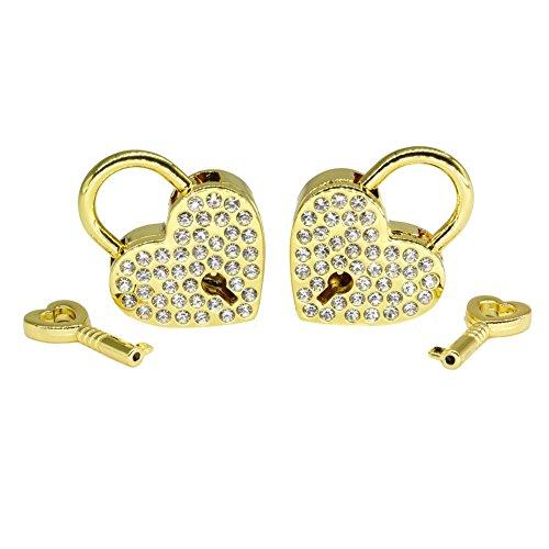 Gold Heart Padlock - Padlocks and Keys Rhinestone Diamond-THREE TO ONE Mini Love Heart Lock Key for Luggage Suitcase Handbag Valentine's Day Gift and Wedding Favor Gold 2 Sets