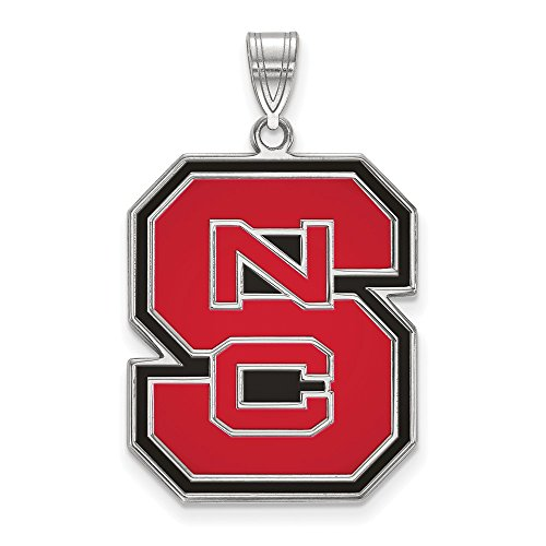 (FB Jewels Solid Sterling Silver Logo Art North Carolina State University Extra Small Enamel Pendant)