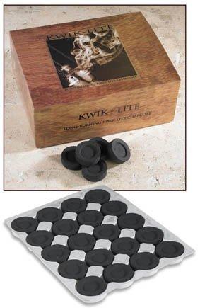 Kwik Lite Brand Quick Lighting Long Lasting Incense Burner Charcoal Briquette Tabs - 100 Per Box