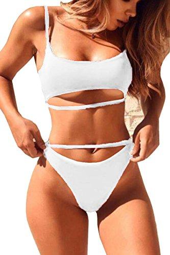 2 Strap Thong - QINSEN Sexy Two Piece Swimwear for Women Spaghetti Strap Crop Top High Cut Thong Brazilian 2PCS Bikini Bathing Suit White S