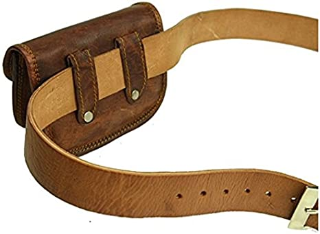 Leather Bumbag Belt Pouch Purse Vintage Leisure Weekend Practical Party Festival Handmade Brown Small Unisex Messenger Bag