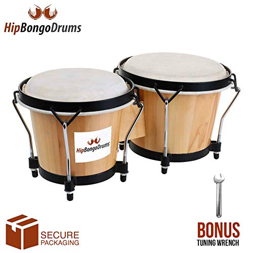 """Bongo Drum Set for Adults Kids Beginners Professionals [Upgraded Packaging] - Set of 6"""" and 7"""" Tunable Percussion Instruments - Natural Animal Hides Hickory Shells Durable Wood Metal with Tuning Wrench by Hip Bongo Drums"""