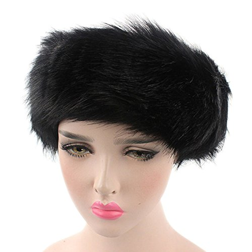 CHIDY Women Ladies Winter Faux Fur Hat Warm Headband Hat Cap Pile Cap Cute Solid Color Furry Cap
