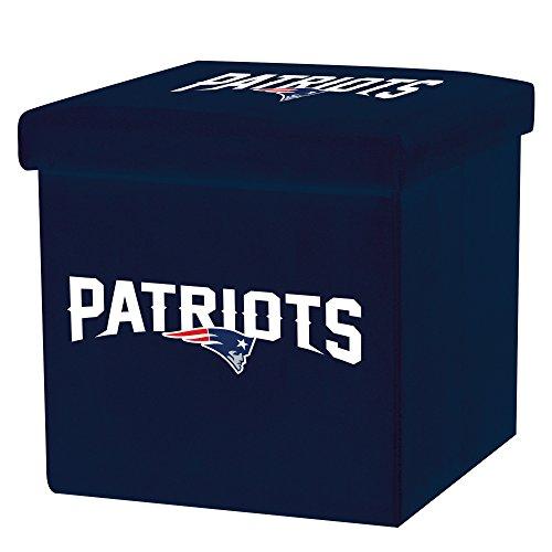 Franklin Sports NFL New England Patriots Storage Ottoman with Detachable Lid 14 x 14 x 14 - -