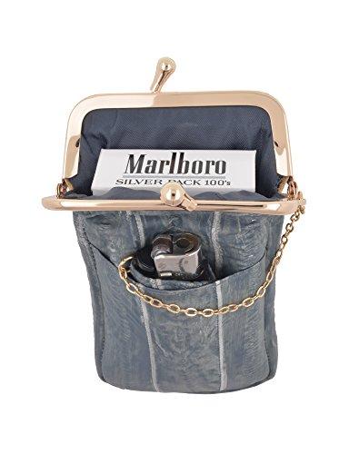Genuine Eel Skin Leather Cigarette Case with Lighter Holder (Washed ()