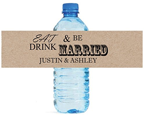 100 Kraft paper Eat Drink Be Married Wedding Anniversary Engagement Party Water Bottle Labels 8
