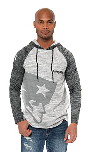 (Icer Brands NFL New England Patriots Men's Fleece Hoodie Pullover Sweatshirt Space Dye, Small, Gray)