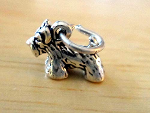 (Sterling Silver 3D Tiny 8x11mm Cairn Scottie Scottish Terrier Dog Charm Vintage Crafting Pendant Jewelry Making Supplies - DIY for Necklace Bracelet Accessories by CharmingSS)