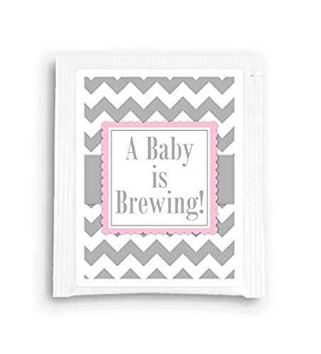 Baby Shower Tea Favors, Gray and Pink A Baby Is Brewing Tea Bag Favor (15 count)