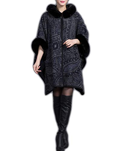 NICESOUL Spring Autumn Cashmere Feel Women Hooded Cloak Coat Shawl Poncho Cape(4)