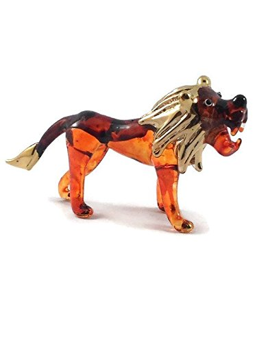 TINY CRYSTAL LION HAND BLOWN CLEAR GLASS ART LION FIGURINE ANIMALS COLLECTION GLASS BLOWN by Mr_air_thai_Glass_Blown