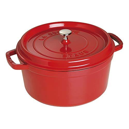 Staub 1102806 Cast Iron Round Cocotte, 7-quart, Cherry