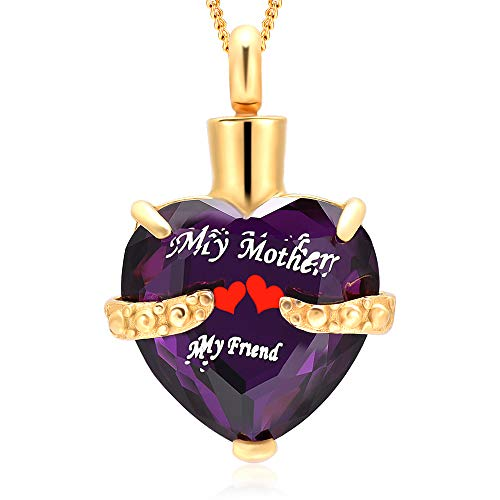Cremation Jewelry Heart Cremation Urn Necklace for Ashes Keepsake Memorial Pendant-Engraved My Mother My Friend Birthstone Heart Urn(Gold and Purple)