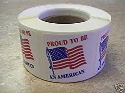 500 1.5x1.5 Proud to be an American Flag Labels Stickers