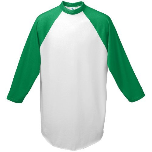 Augusta-Baseball Jersey Raglan 3/4 sleeves~White/Kelly Green~Youth-SM by Augusta Sportswear