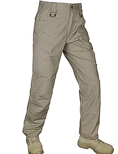 HARD LAND Men's Waterproof Tactical Pants Ripstop Lightweight Work Cargo Pants with Elastic Waist BDU Khaki Size - Work Duty Ems Heavy Shirt