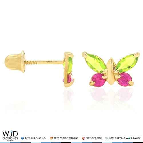 14K Yellow & White Gold Multicolor Simulated Gemstone Butterfly Screw Back Stud Earrings, Peridot, Yellow Gold