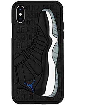 newest 0dc8f ed871 iPhone Xs Max Case, Jordan 11s 3D Textured Sneaker Shockproof Protective  Grippy Case (Space Jams (Blue))