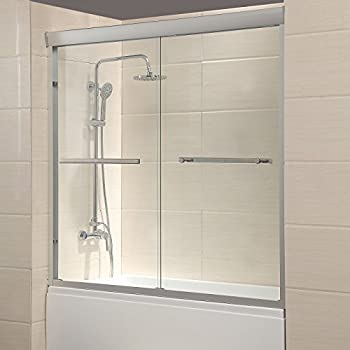 Mecor 60  W x 57.4  H Framed Bathtub Door 1/4  Clear Glass 2 Sliding Bath Shower Door Chrome Finish & Tangkula 33.5