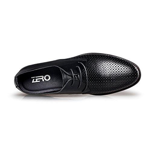 Zero Herrenschuhe - Leder klassisch einfach Schnürsenkel Schnürhalbschuhe Freizeitschuhe Schwarz 2