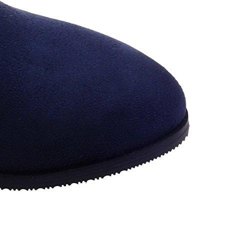 AllhqFashion Mujeres Sólido Mini Tacón Puntera Redonda Sintético Cremallera Botas Azul