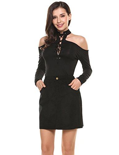 [Zeagoo Women's Pocket Corduroy Botton Front High Waist Solid Mini Sheath A-Line Short Sexy Skirt Black M] (A-line Side Zip Skirt)