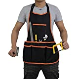 Canvas Tool Apron, Mens Work Apron with Pockets, Canvas Utility Apron with 16 Tool Pockets, Adjustable Neck Strap, Lexvss Waterproof Work Apron for Women & Men【Black】