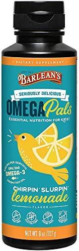 Barlean's Omega Pals Fish Oil, Chirpin' Slurpin' Lemonade, 8-oz, Packaging may Vary