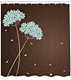 Blue Brown Shower Curtain Ambesonne Brown and Blue Shower Curtain, Floral Design with Swirl Lines Falling Leaves Autumn Inspired, Fabric Bathroom Decor Set with Hooks, 70 inches, Brown Pale Seafoam Cream