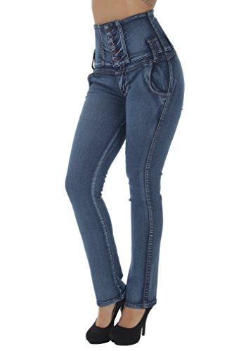Fashion2Love N342BT – Colombian Design, Butt Lift, Levanta Cola, High Waist, Boot Leg Jeans in Washed Blue Size 7 by Fashion2Love