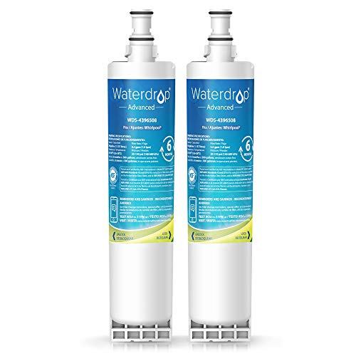 Waterdrop NSF 53&42 Certified 4396508 Replacement Refrigerator Water Filter - Reduces Lead, Chlorine, Cyst, Benzene, Compatible with Whirlpool 4396508, Kenmore 46-9010, EveryDrop Filter 5, Pack of 2