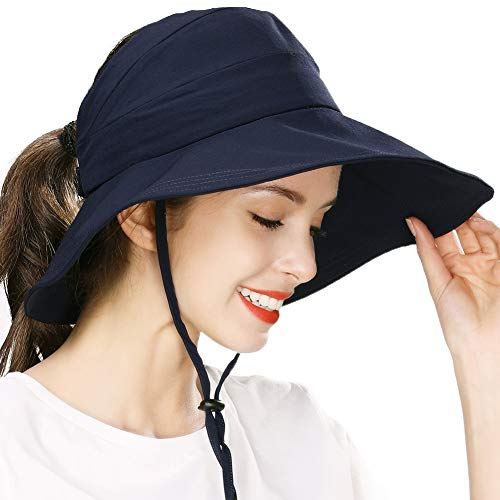 Fishing Sun Hat for Men Women Nylon UV Protective Open Top Foldable Hunting Hiking Gardening Outdoors Navy Blue]()