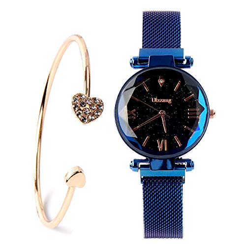 Fashion Analogue Quartz Ladies Blue Watches Magnetic Mesh Band Starry Sky Dial Simulated Diamond Wrist Watches and Bracelet Set