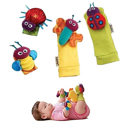 1 X Baby Wrist Rattle & Foot Finder Toys - Set of 4PCS Baby Infant Soft Toy (1) by Bluefun