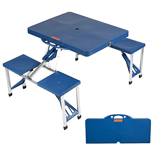 LUCKYERMORE Folding Picnic Table 4 Seat Portable Outdoor Camping Tables Suitcase Table and Chairs Camp Table with Carry Case