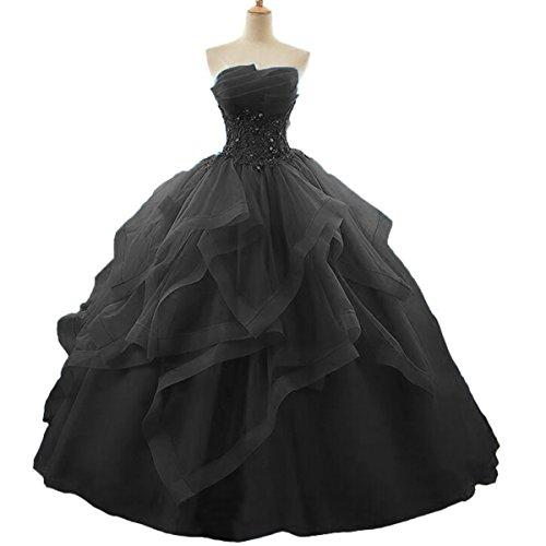 long black puffy prom dresses - 4