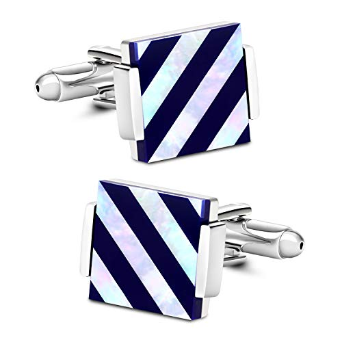 VIILOCK Mother of Pearl Cuff-Links Onyx Stripe Tuxedo Cufflinks in a Gift Bag Wedding Gift for Men (Blue and Silver)