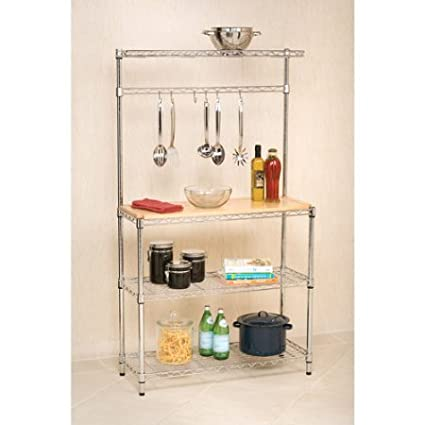 Classic Professional Bakeru0027s Rack, Eco Friendly Workstation, Rubberwood  Top, Provides Extra Space