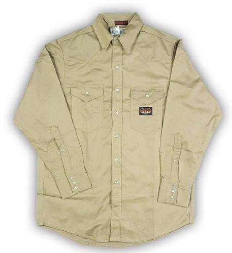 Rasco Fire Retardant KHAKI Shirt FR Western with Snaps 7.5 oz,  Medium-Reg