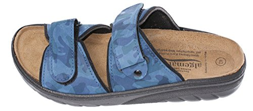 Algemare Pantolette Camouflage blau Algen-Kork Fußbett waschbar Leder 7510_8615 Sandale Sandalette, Größe:45