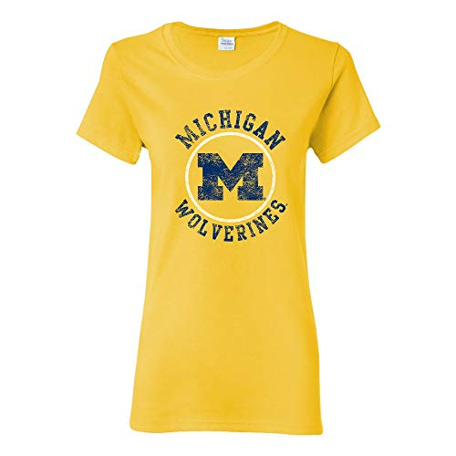 LS04 - Michigan Wolverines Distressed Circle Logo Womens T-Shirt - X-Large - Daisy