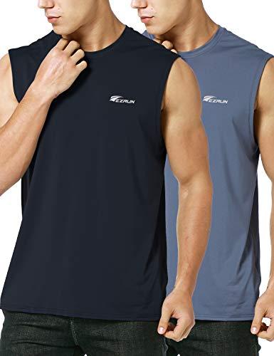 Sleeveless Workout Shirts - EZRUN Men's Performance Quick-Dry Sleeveless Shirt Workout Muscle Bodybuilding Tank Top(Twopack,XL)