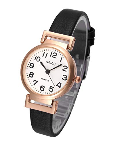 Top Plaza Womens Ladies Classic Simple Black Leather Analog Wrist Watch Rose Gold Case Arabic Numerals Casual Dress Quartz ()