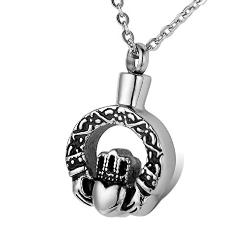 HOUSWEETY Stainless Claddagh Necklace Cremation