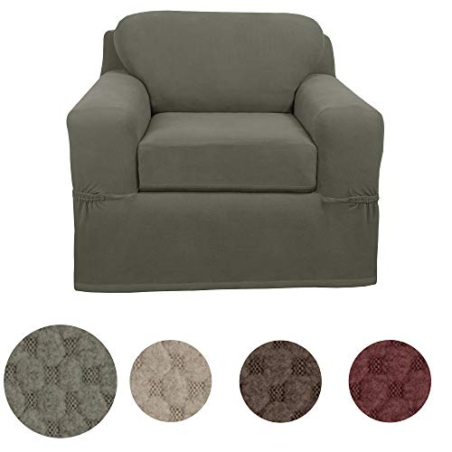 MAYTEX Pixel Ultra Soft Stretch 2 Piece Arm Chair Furniture Cover Slipcover, Dusty Olive Green