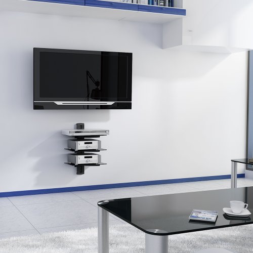 Vonhaus 3x Black Floating Shelves With Strengthened