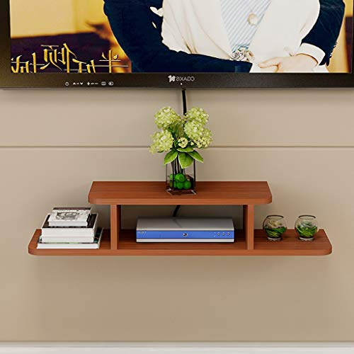- GLJJQMY Set-top Box Frame Wall-Mounted WiFi Frame Living Room TV Wall Decoration Partition Bedroom Router Storage Box 2 Color Optional Wall Mount Shelf (Color : Teak Color, Size : 80cm)