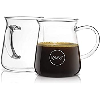 Kavako Borosilicate Glass Coffee Mug - Thermal Shock Proof, Condensation-Free and Specially Designed Rim for Comfort, Set of Two Coffee Mugs - 10 oz. Each