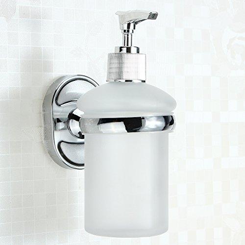 KISENG Stainless Steel Wall Mounted Soap Dispenser Holder Shampoo Bottle Frosted Glass